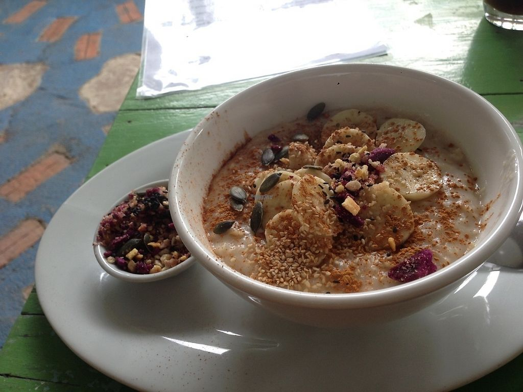 """Photo of Peace Food Cafe  by <a href=""""/members/profile/gretasanna"""">gretasanna</a> <br/>Oat porridge with superfood <br/> December 2, 2016  - <a href='/contact/abuse/image/83116/196607'>Report</a>"""