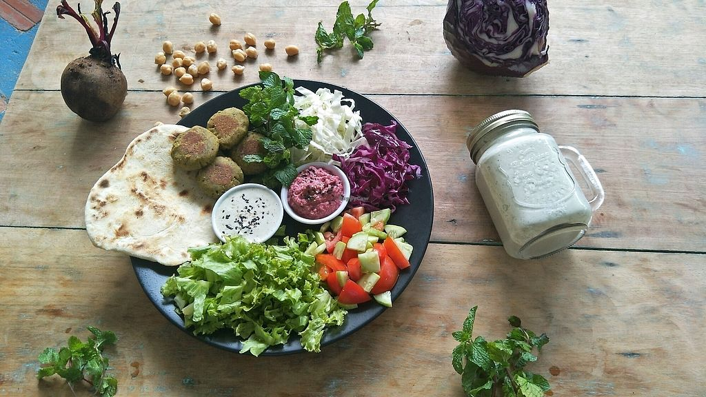 """Photo of Peace Food Cafe  by <a href=""""/members/profile/NeleTa"""">NeleTa</a> <br/>DIY homemade FALAFEL plate! with delicious beetroot hummus and cashew zaziki!!  <br/> December 5, 2017  - <a href='/contact/abuse/image/83116/332413'>Report</a>"""