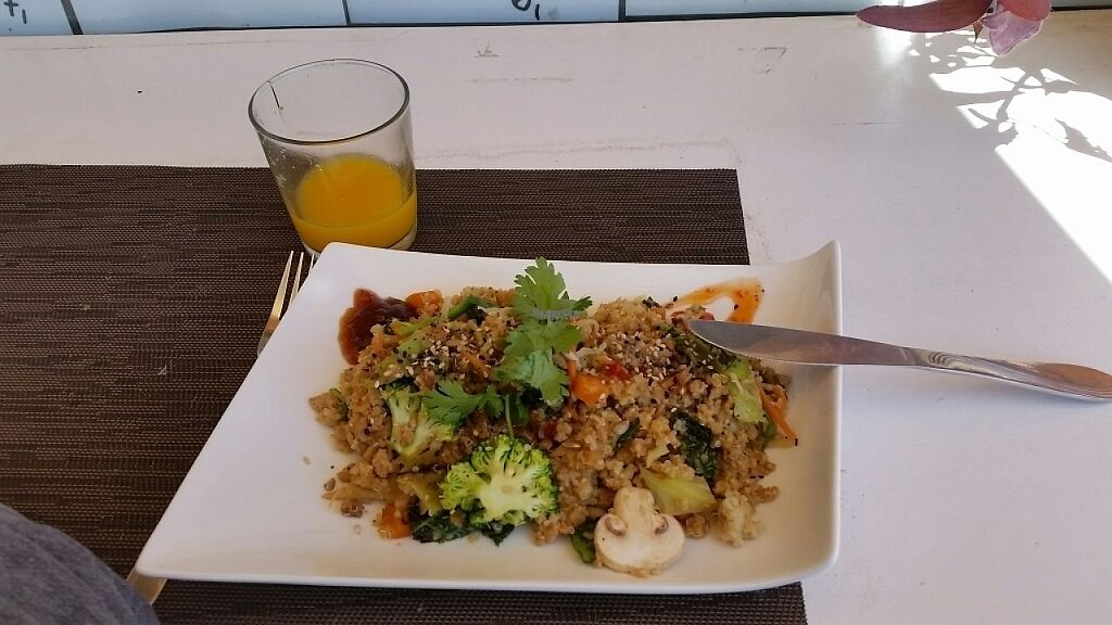 """Photo of Piri Piri  by <a href=""""/members/profile/noireous"""">noireous</a> <br/>Quiona Wok with Orange Juice <br/> April 7, 2017  - <a href='/contact/abuse/image/83156/245392'>Report</a>"""