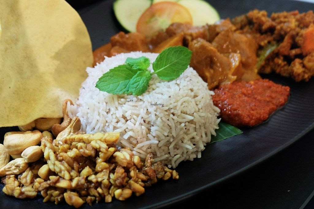 """Photo of Pinxin Vegan Cuisine  by <a href=""""/members/profile/JennWoeiLoh"""">JennWoeiLoh</a> <br/>Vegan Nasi Lemak ( virgin coconut oil rice ) served with Upland padi, healthy yet delicious. truly vegan <br/> May 31, 2017  - <a href='/contact/abuse/image/83210/264504'>Report</a>"""
