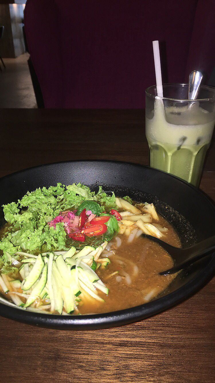 """Photo of Pinxin Vegan Cuisine  by <a href=""""/members/profile/Toristales"""">Toristales</a> <br/>matcha latte (cold) and the noodles named after the place <br/> August 29, 2017  - <a href='/contact/abuse/image/83210/298549'>Report</a>"""