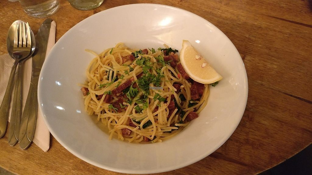"""Photo of CLOSED: Chomp Cafe  by <a href=""""/members/profile/AmyBoulert"""">AmyBoulert</a> <br/>Vegan bacon, spinach, chilli, coconut and lime, gluten free spaghetti!  <br/> November 28, 2016  - <a href='/contact/abuse/image/83211/195373'>Report</a>"""