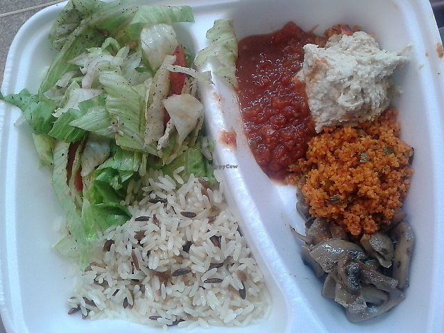 """Photo of Fez Food  by <a href=""""/members/profile/deadpledge"""">deadpledge</a> <br/>Vegan Iskender - wild rice, salad, hummus, cous cous, mushrooms and dip <br/> August 16, 2017  - <a href='/contact/abuse/image/83215/293299'>Report</a>"""