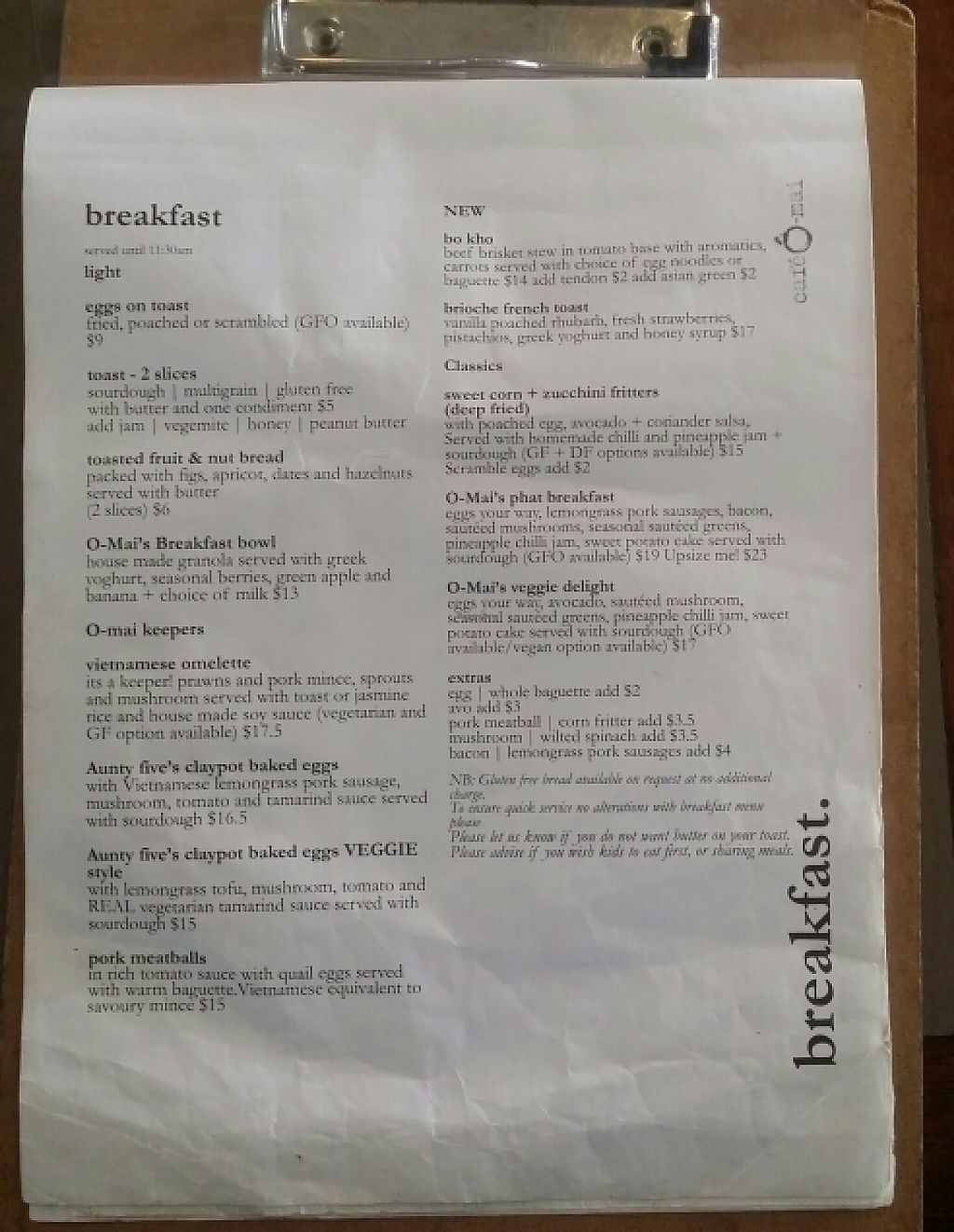 """Photo of Cafe O Mai  by <a href=""""/members/profile/Mike%20Munsie"""">Mike Munsie</a> <br/>breakfast menu 1 <br/> May 23, 2017  - <a href='/contact/abuse/image/83223/261587'>Report</a>"""