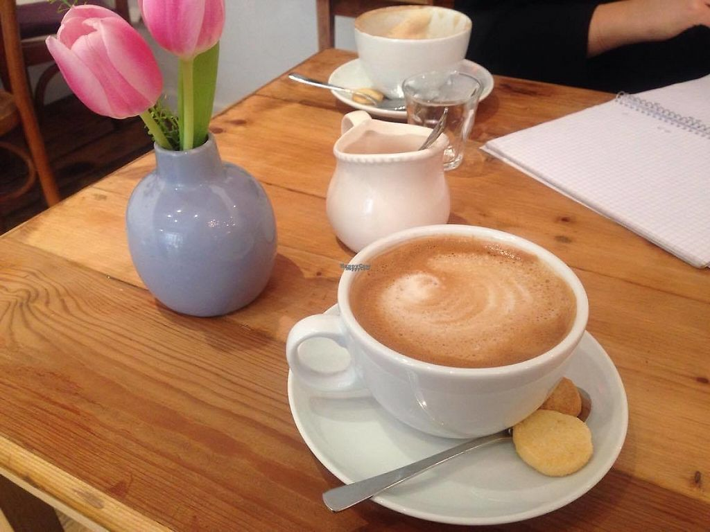 "Photo of Cafe Con Amore  by <a href=""/members/profile/Kyttiara"">Kyttiara</a> <br/>Cappuccino with oat milk + mini vegan biscuits  <br/> April 5, 2017  - <a href='/contact/abuse/image/83232/244932'>Report</a>"