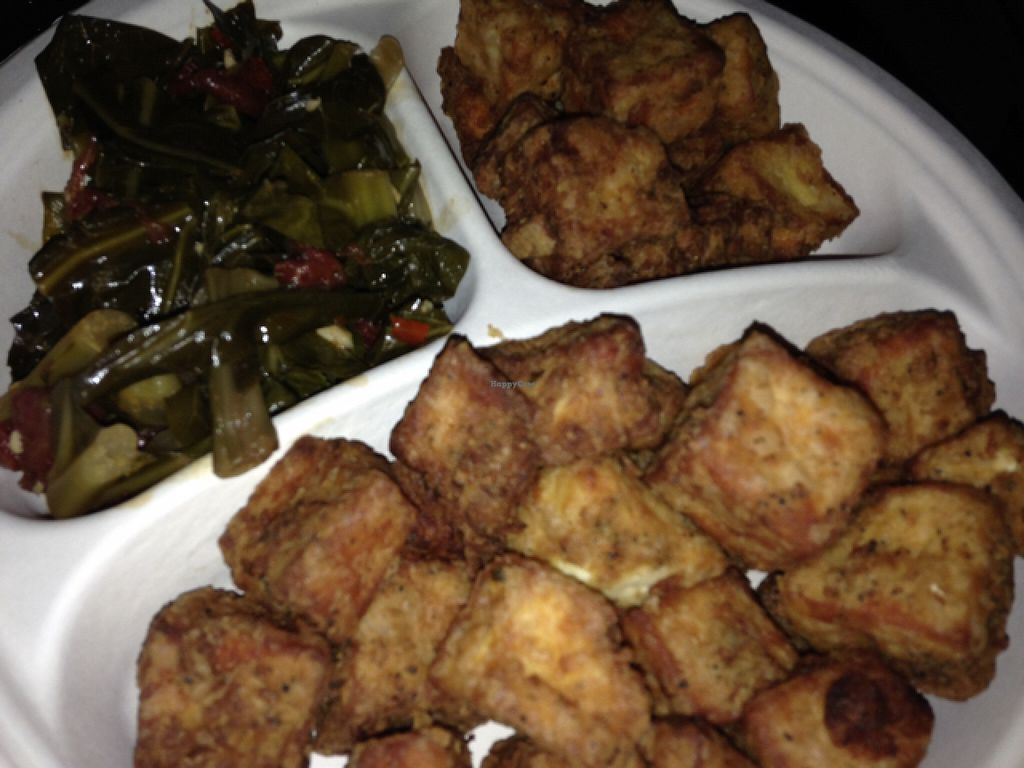 """Photo of Whole Foods Market  by <a href=""""/members/profile/calamaestra"""">calamaestra</a> <br/>fried tofu and collard greens from hot bar <br/> July 7, 2016  - <a href='/contact/abuse/image/8323/158324'>Report</a>"""
