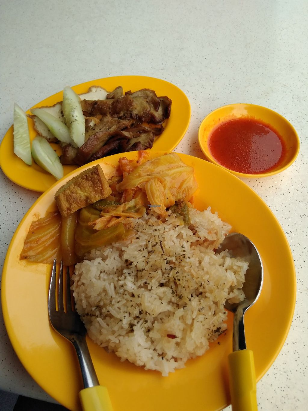 """Photo of Seng Wei Xuan Vegetarian  by <a href=""""/members/profile/RichardLee"""">RichardLee</a> <br/>Vegetarian Chicken Rice with added Curry Vegetable  <br/> January 12, 2017  - <a href='/contact/abuse/image/83251/211254'>Report</a>"""