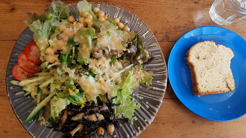 """Photo of Monstyle  by <a href=""""/members/profile/MelissaBlevens"""">MelissaBlevens</a> <br/>Vegan option of the day, a salad with quinoa and served with sweet bread <br/> April 20, 2018  - <a href='/contact/abuse/image/83253/388336'>Report</a>"""