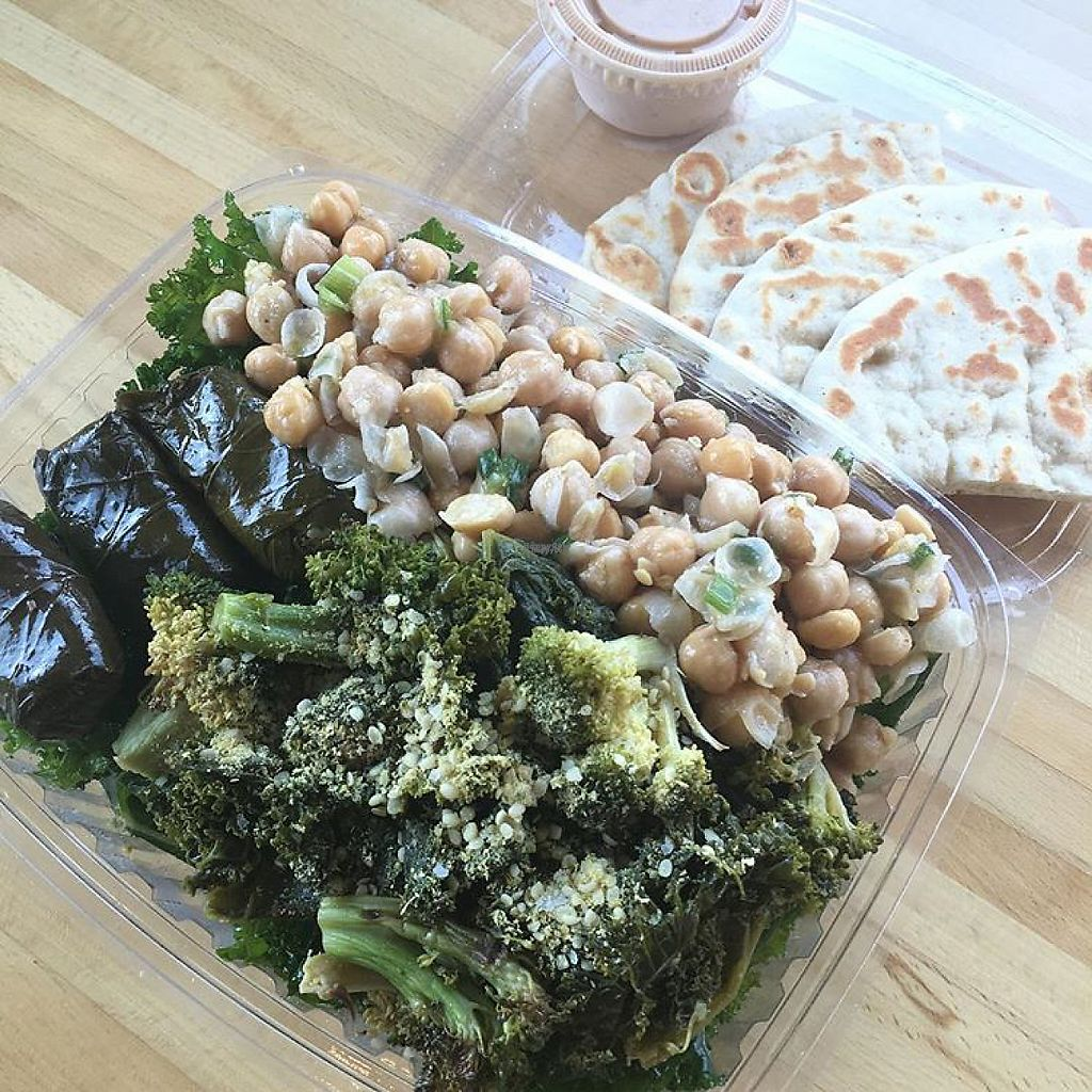 "Photo of Greens and Grains  by <a href=""/members/profile/Leean"">Leean</a> <br/>trio salad over kale. pick your own toppings! <br/> November 28, 2016  - <a href='/contact/abuse/image/83300/195286'>Report</a>"