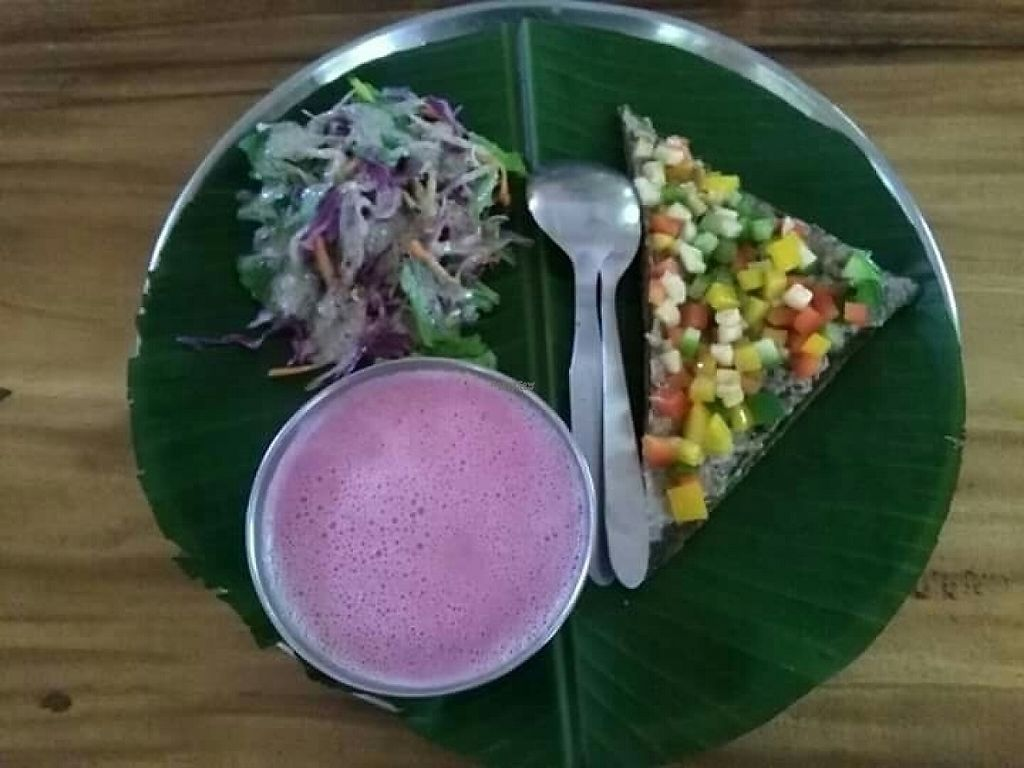 "Photo of Auroville Raw Food Centre  by <a href=""/members/profile/HappyVeganCam"">HappyVeganCam</a> <br/>really beautiful and good beet soup, salad and raw pizza <br/> December 20, 2016  - <a href='/contact/abuse/image/83330/203126'>Report</a>"