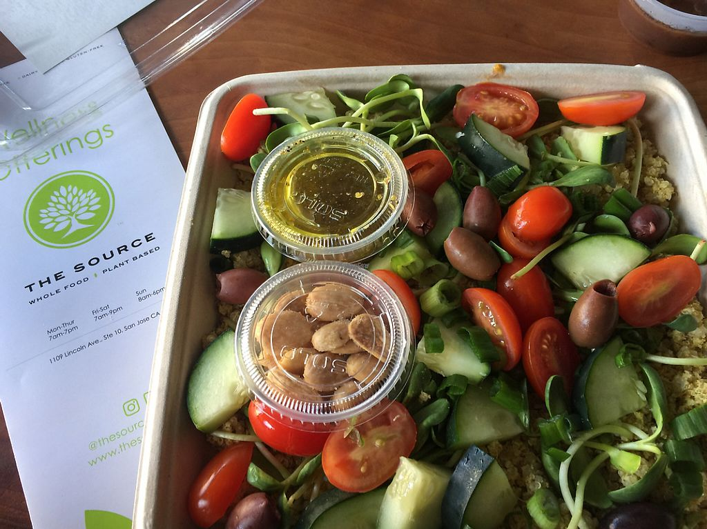 """Photo of The Source  by <a href=""""/members/profile/VegAnne_Ca"""">VegAnne_Ca</a> <br/>Mediterranean salad  <br/> March 2, 2017  - <a href='/contact/abuse/image/83357/231946'>Report</a>"""