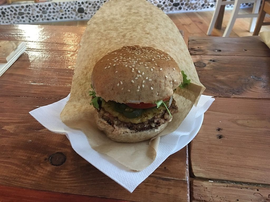 """Photo of Vegan&Raw  by <a href=""""/members/profile/AndyT"""">AndyT</a> <br/>Burger w/options (pineapple, jalapeno, vegan cheese)  <br/> January 6, 2017  - <a href='/contact/abuse/image/83359/208645'>Report</a>"""