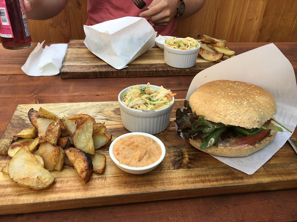 """Photo of Vegan&Raw  by <a href=""""/members/profile/veganjazztraveller"""">veganjazztraveller</a> <br/>Sweet'n'Hot Burger meal  - tasted fantastic -  <br/> August 4, 2017  - <a href='/contact/abuse/image/83359/288577'>Report</a>"""