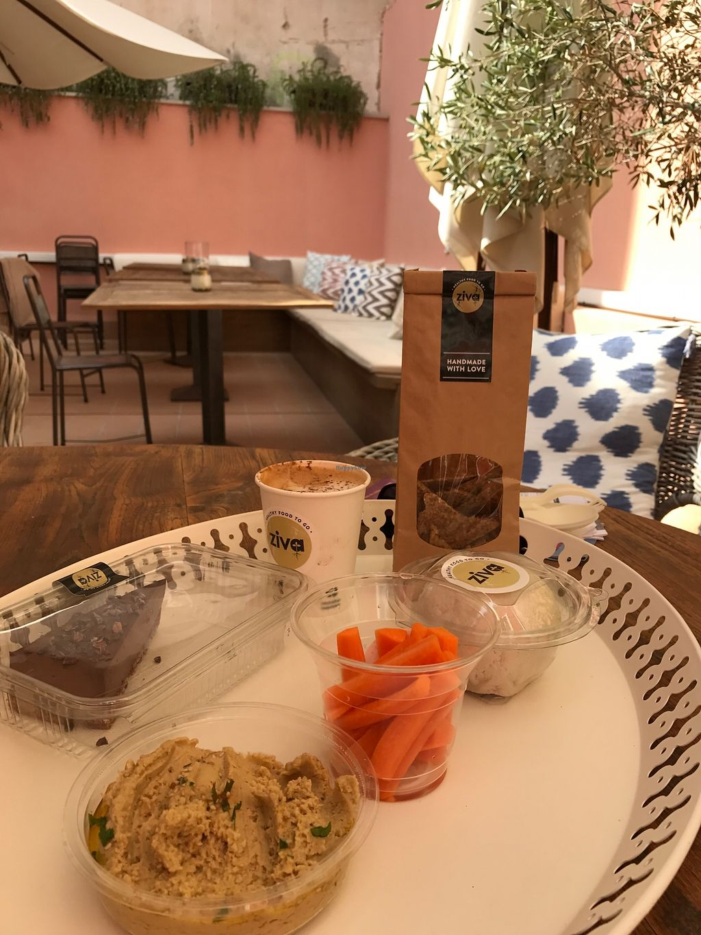 "Photo of Ziva To Go - Center  by <a href=""/members/profile/MaureenDelaney"">MaureenDelaney</a> <br/>Raw Chocolate cake, carrots, hummus, vegan cheese made of fermented almonds, raw crackers, cappucino with almond milk :) lovely place <br/> September 2, 2017  - <a href='/contact/abuse/image/83384/300054'>Report</a>"
