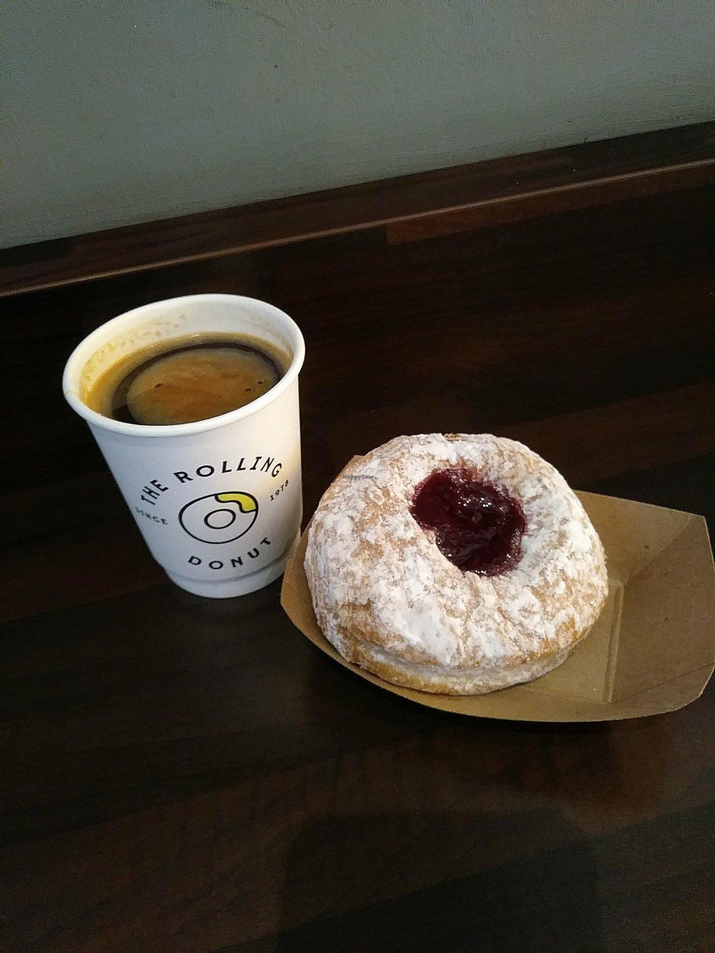 """Photo of The Rolling Donut - Dublin 1  by <a href=""""/members/profile/happyhippieellie"""">happyhippieellie</a> <br/>Vegan Jelly Donut and a coffee! <br/> January 9, 2018  - <a href='/contact/abuse/image/83413/344782'>Report</a>"""