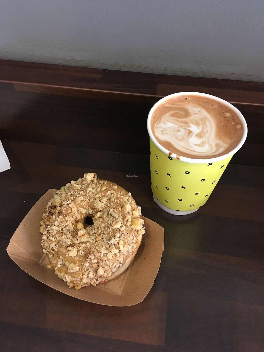 """Photo of The Rolling Donut - Dublin 1  by <a href=""""/members/profile/gbird2"""">gbird2</a> <br/>Vegan coffee and walnut and a soya mocha <br/> February 9, 2018  - <a href='/contact/abuse/image/83413/356730'>Report</a>"""