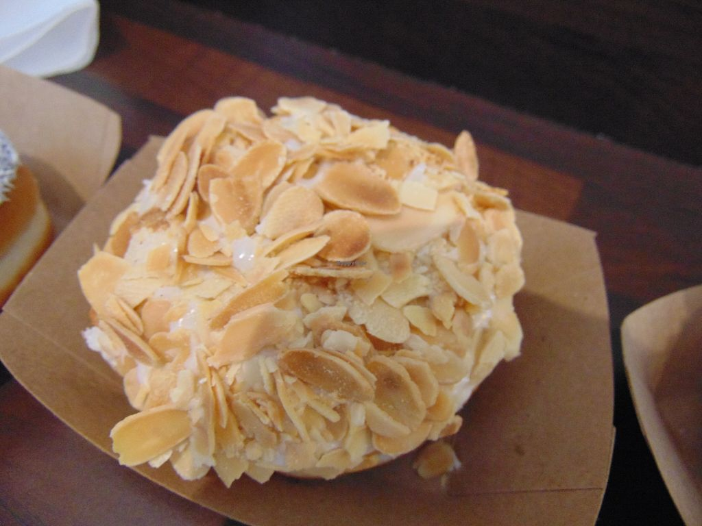 """Photo of The Rolling Donut - Dublin 1  by <a href=""""/members/profile/jennyc32"""">jennyc32</a> <br/>Vegan almond and vanilla <br/> April 15, 2018  - <a href='/contact/abuse/image/83413/386143'>Report</a>"""