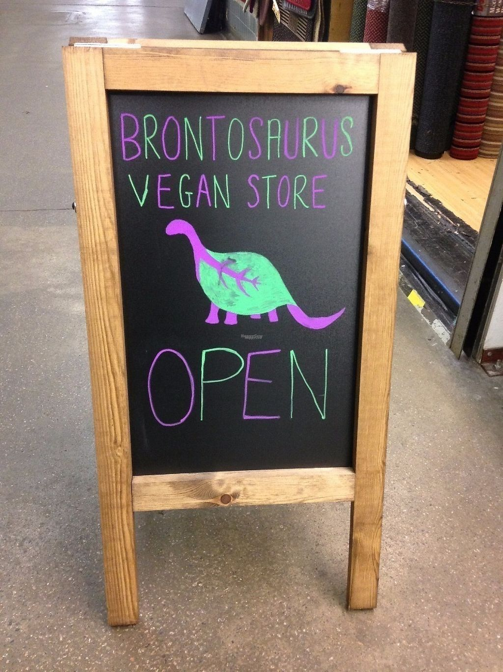 "Photo of Brontosaurus Vegan Lifestyle Store  by <a href=""/members/profile/charclothier"">charclothier</a> <br/>Outside sign <br/> January 31, 2017  - <a href='/contact/abuse/image/83423/220356'>Report</a>"