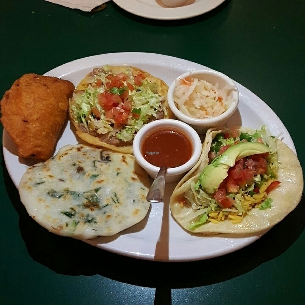 """Photo of The Guanaquita Restaurant  by <a href=""""/members/profile/KPS-Veg"""">KPS-Veg</a> <br/>Vegan Platter <br/> February 23, 2017  - <a href='/contact/abuse/image/83475/229758'>Report</a>"""