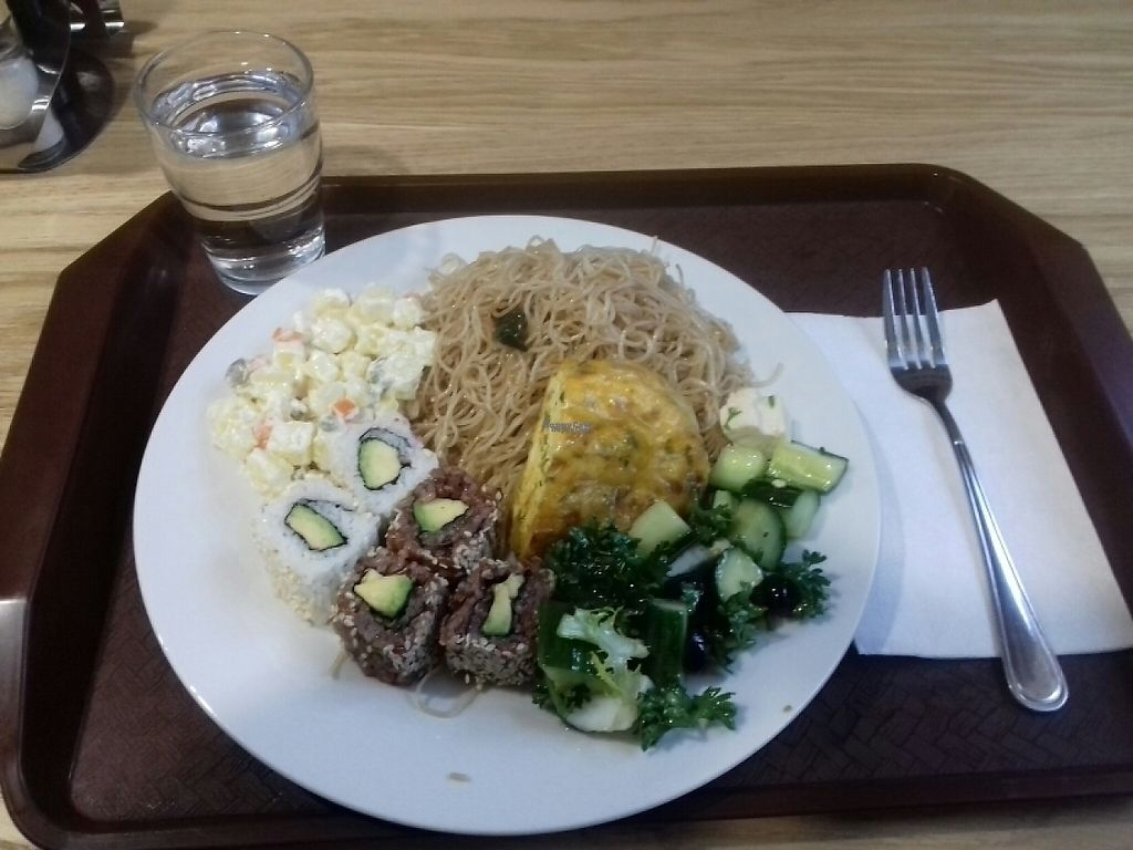 "Photo of Veganland - Milady Horakove  by <a href=""/members/profile/Franti%C5%A1ekSvoboda"">FrantišekSvoboda</a> <br/>Rice noodles, ""egg"" roll, sushi, vegetables from buffet <br/> December 21, 2016  - <a href='/contact/abuse/image/83480/203549'>Report</a>"
