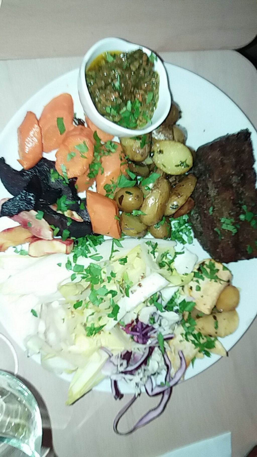 """Photo of Le Faitout Vegan  by <a href=""""/members/profile/thenaturalfusions"""">thenaturalfusions</a> <br/>steak frites vegan 15 euros <br/> March 25, 2017  - <a href='/contact/abuse/image/83489/240729'>Report</a>"""