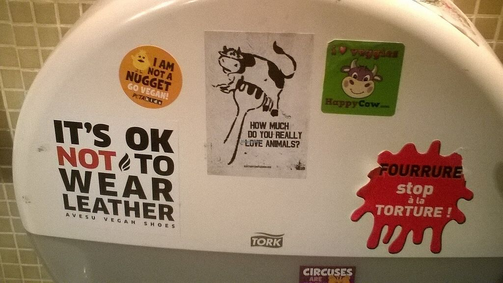 """Photo of Le Faitout Vegan  by <a href=""""/members/profile/Sylvane"""">Sylvane</a> <br/>Animal right stickers in the bathroom <br/> June 26, 2017  - <a href='/contact/abuse/image/83489/273619'>Report</a>"""