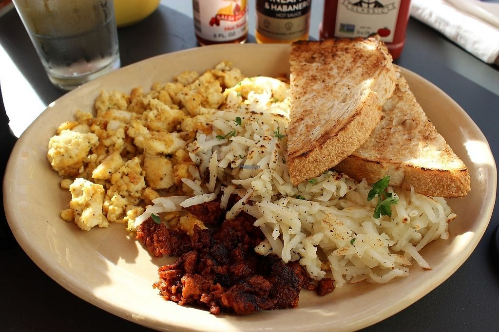 "Photo of Snooze  by <a href=""/members/profile/veggie_htx"">veggie_htx</a> <br/>Snooze Classic breakfast made vegan: opt for tofu scramble, soyrizo. Omit butter. Mention you are vegan to waitstaff <br/> January 6, 2017  - <a href='/contact/abuse/image/83495/208867'>Report</a>"