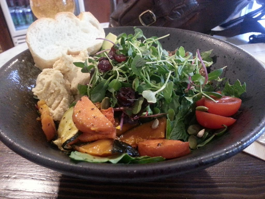 """Photo of Fat Cat Neighborhood Bistro - 팻캣  by <a href=""""/members/profile/TrinaRowell"""">TrinaRowell</a> <br/>Mixed bowl of greens, hummus and sweet potatoes.  So fresh and delicious~ <br/> August 2, 2017  - <a href='/contact/abuse/image/83505/287853'>Report</a>"""