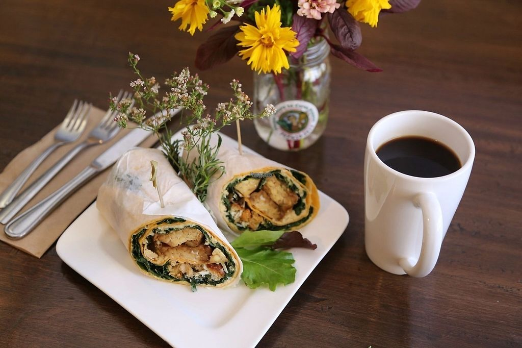 """Photo of Ceres Cafe  by <a href=""""/members/profile/lilycouch"""">lilycouch</a> <br/>Tempeh wrap with kale pesto <br/> December 9, 2016  - <a href='/contact/abuse/image/83526/198748'>Report</a>"""