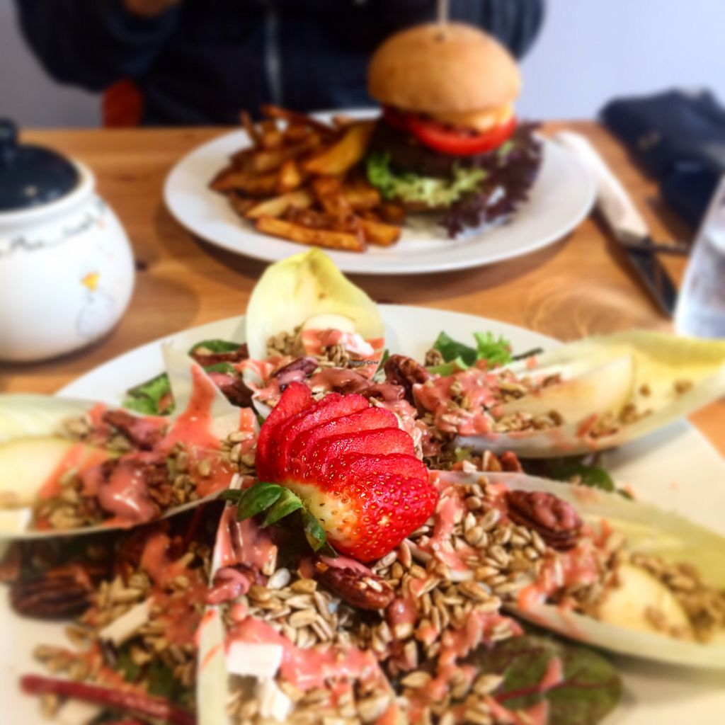 """Photo of Holy Cow  by <a href=""""/members/profile/AbiM"""">AbiM</a> <br/>Pear and blue cheese salad; Quarter pounder <br/> March 27, 2018  - <a href='/contact/abuse/image/83562/376752'>Report</a>"""