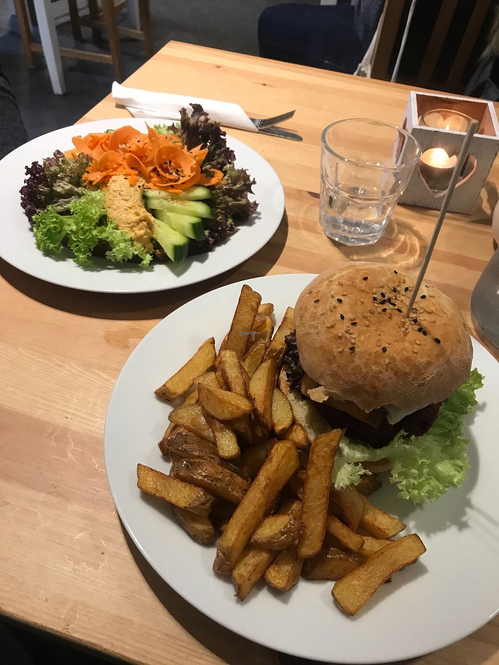 """Photo of Holy Cow  by <a href=""""/members/profile/AshleighC"""">AshleighC</a> <br/>The 'bloody' beetroot burger I had and my mum's hummus open sandwich <br/> March 30, 2018  - <a href='/contact/abuse/image/83562/378429'>Report</a>"""