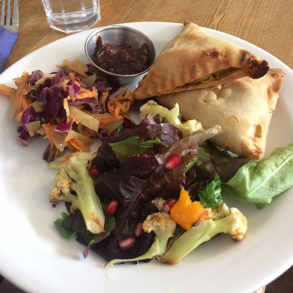 "Photo of The Blue Teapot  by <a href=""/members/profile/Hoggy"">Hoggy</a> <br/>Special's Menu - 'Vegan Samosas with Tomato Chutney, slaw and salad' <br/> July 23, 2017  - <a href='/contact/abuse/image/83600/283768'>Report</a>"