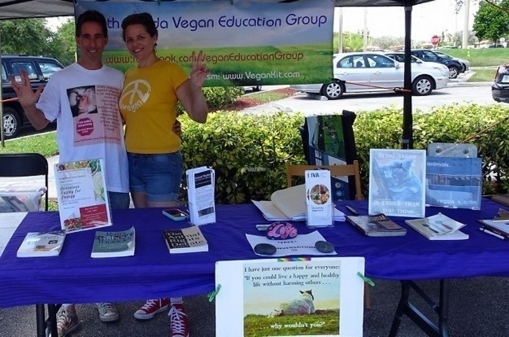 "Photo of South Florida Vegan Education Group  by <a href=""/members/profile/veganmusician"">veganmusician</a> <br/>Keith and Elena, SFVEG co-founders <br/> December 5, 2016  - <a href='/contact/abuse/image/83633/197714'>Report</a>"