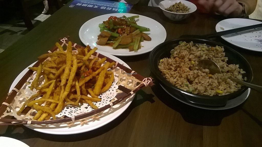 "Photo of Super Vegan - Xujiahui  by <a href=""/members/profile/MichaelRobinson"">MichaelRobinson</a> <br/>Tea Tree Mushrooms Yu Mountain Style, veggie chicken with ginger and rice with veggie meat Jiayi style <br/> October 4, 2017  - <a href='/contact/abuse/image/83644/311595'>Report</a>"