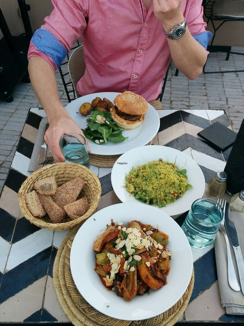 """Photo of NOMAD  by <a href=""""/members/profile/EarthlingAndrea"""">EarthlingAndrea</a> <br/>I had vegan tajine and vegan couscous to share. They always serve you bread with your meal <br/> December 10, 2016  - <a href='/contact/abuse/image/83652/198880'>Report</a>"""