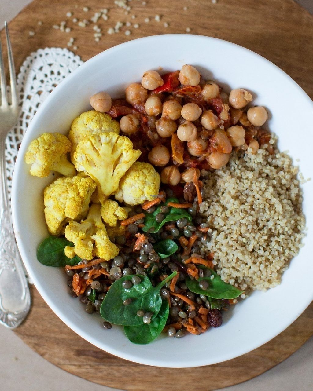 "Photo of Two Tablespoons  by <a href=""/members/profile/TwoTablespoons"">TwoTablespoons</a> <br/>Shanti Express Macro Bowl: - Chickpea Stew - Quinoa - Curried Cauliflower - Lentil and Kale Salad <br/> December 6, 2016  - <a href='/contact/abuse/image/83678/197949'>Report</a>"