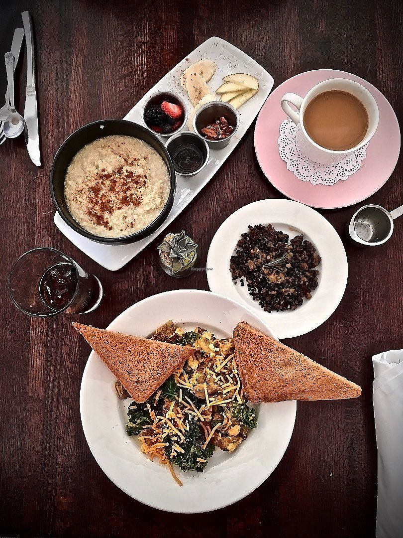 "Photo of Citizen Eatery  by <a href=""/members/profile/Kri_Childs"">Kri_Childs</a> <br/>Top to bottom, (L to R): Citizens Hot Cerea, Coffee with cream, Cold Brew Ice Coffee, Vegan Citizens Platter with house made protein crumble <br/> June 18, 2017  - <a href='/contact/abuse/image/83679/270569'>Report</a>"