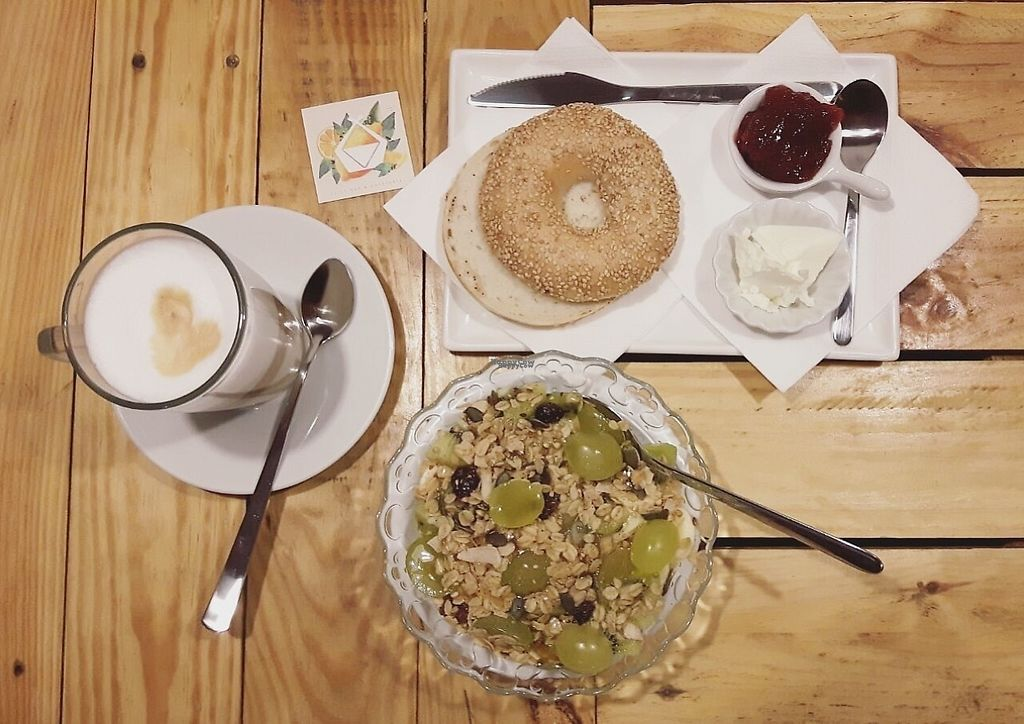 """Photo of Itacate Barcelona  by <a href=""""/members/profile/itacatebcn"""">itacatebcn</a> <br/>Brunch at ITACATE: açai bowl topped with seasonal fruit and made-in-house vegan granola, latte macciato and classic bagel with cream cheese and strawberry jam <br/> December 11, 2016  - <a href='/contact/abuse/image/83690/199292'>Report</a>"""