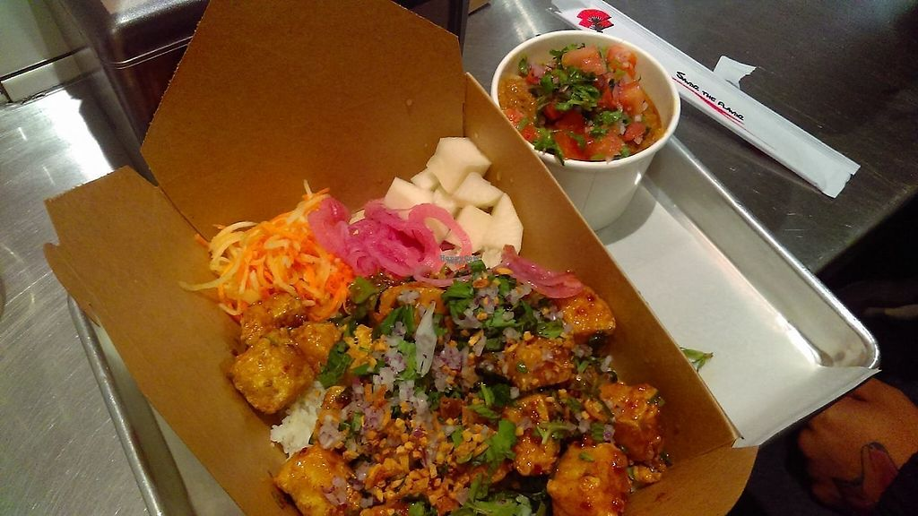 """Photo of Ekiben  by <a href=""""/members/profile/BaltiVegn"""">BaltiVegn</a> <br/>Tofu rice bowl w side of rice and red beans <br/> December 16, 2016  - <a href='/contact/abuse/image/83699/201983'>Report</a>"""