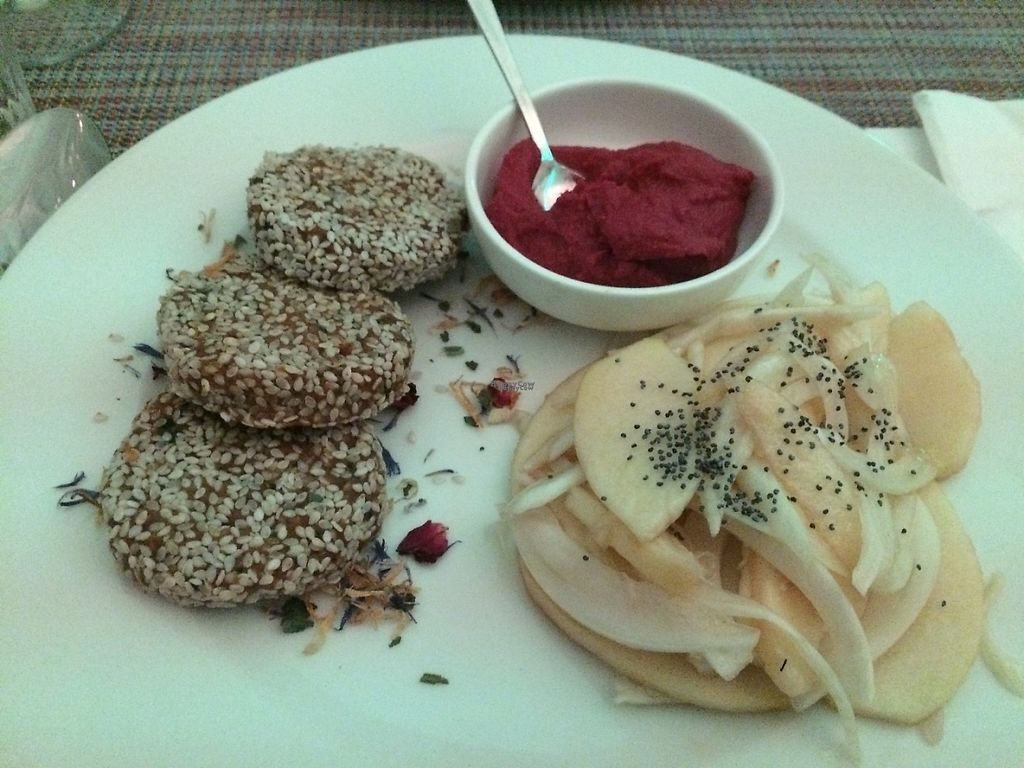 "Photo of Un'Altra Idea  by <a href=""/members/profile/LiaTraballero"">LiaTraballero</a> <br/>RAW. Dried fruit and vegetables burger/ beetroot hummus / apple and fennel salad <br/> January 19, 2017  - <a href='/contact/abuse/image/83717/213274'>Report</a>"
