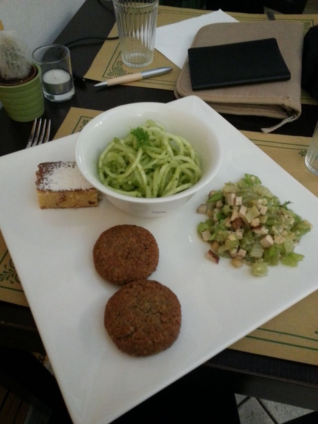 "Photo of Un'Altra Idea  by <a href=""/members/profile/ManueEmmaLeTllc"">ManueEmmaLeTllc</a> <br/>Falafels, raw zucchini spaghetti with pesto, smoked tofu salad, and almond cake <br/> August 9, 2017  - <a href='/contact/abuse/image/83717/290852'>Report</a>"