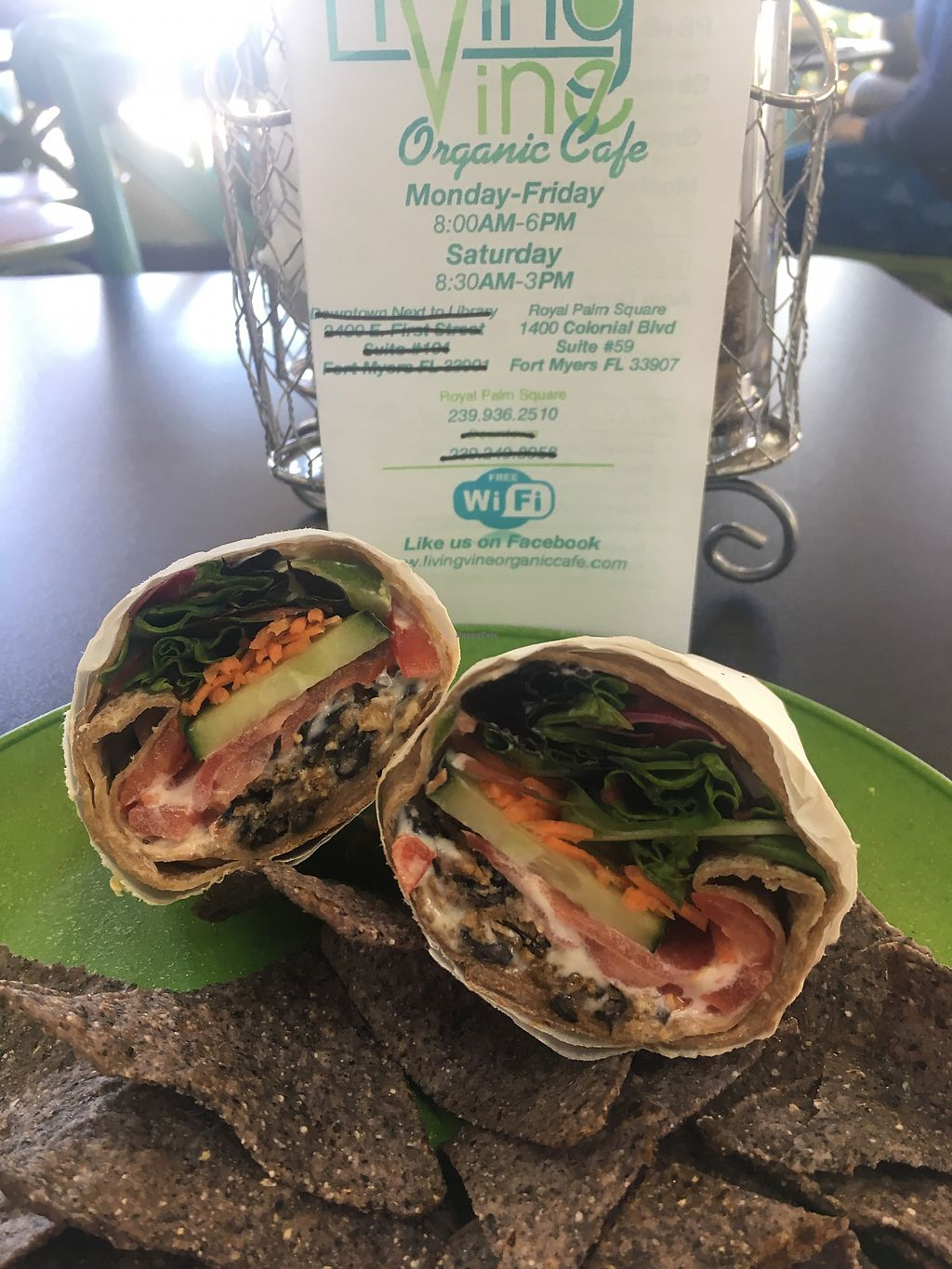 """Photo of Living Vine Organic Cafe  by <a href=""""/members/profile/EBercaw"""">EBercaw</a> <br/>Black bean burger wrap with garlic herb aioli <br/> April 16, 2018  - <a href='/contact/abuse/image/83720/386785'>Report</a>"""