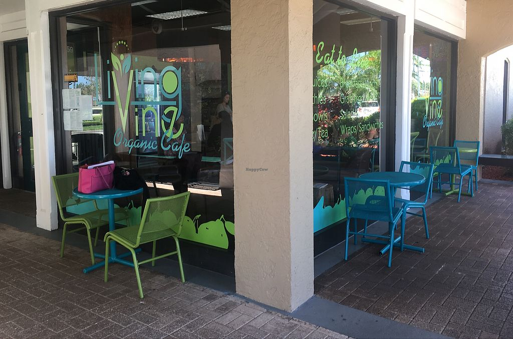 """Photo of Living Vine Organic Cafe  by <a href=""""/members/profile/EBercaw"""">EBercaw</a> <br/>Outdoor seating next to small garden <br/> April 16, 2018  - <a href='/contact/abuse/image/83720/386787'>Report</a>"""