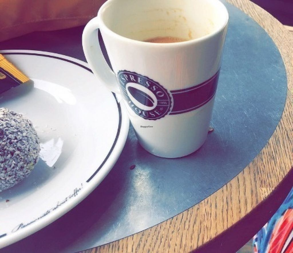 Photo of Espresso House  by miranda_gs <br/>Oat milk latte and Swedish ball <br/> May 4, 2017  - <a href='/contact/abuse/image/83743/255599'>Report</a>