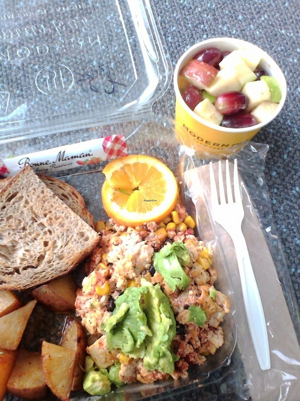 """Photo of Modern Market - Airport TB  by <a href=""""/members/profile/HiKatieB"""">HiKatieB</a> <br/>Southwest tofu scramble with no cheese and a fruit cup <br/> May 7, 2017  - <a href='/contact/abuse/image/83746/256759'>Report</a>"""