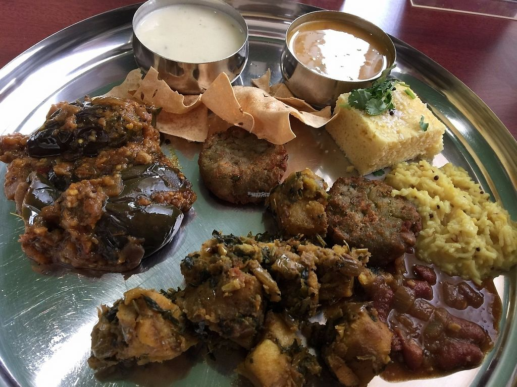 "Photo of CLOSED: Thali  by <a href=""/members/profile/steveoliverc"">steveoliverc</a> <br/>You get a big platter to gather your buffet food. The eggplant and potato dishes were especially good. So were the soups <br/> December 9, 2016  - <a href='/contact/abuse/image/83765/198734'>Report</a>"