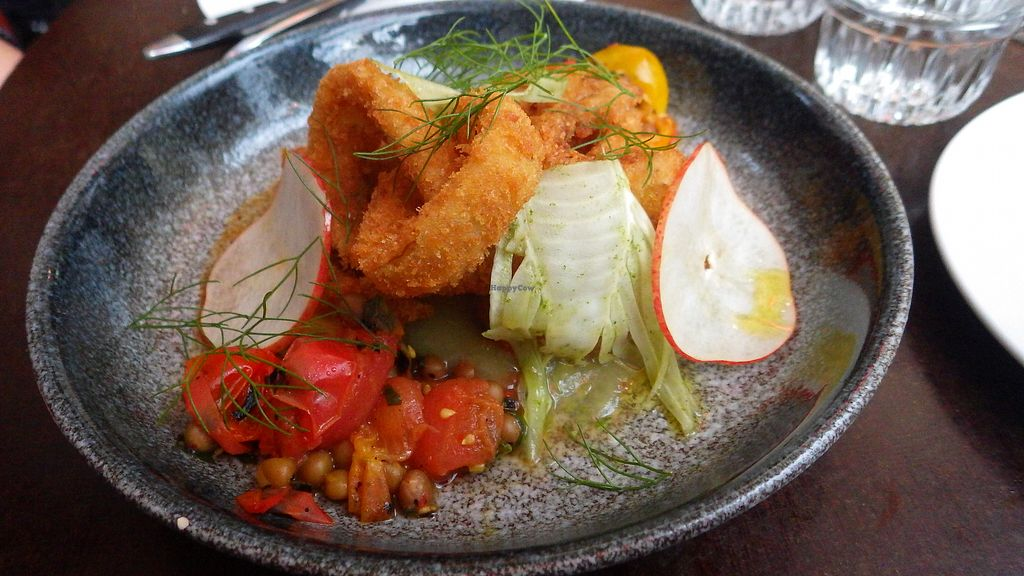 "Photo of Vaxthuset  by <a href=""/members/profile/deadpledge"">deadpledge</a> <br/>Fennel deep-fried, salsa of heritage tomatoes, pear and peas from Rättvik <br/> August 19, 2017  - <a href='/contact/abuse/image/83775/294243'>Report</a>"
