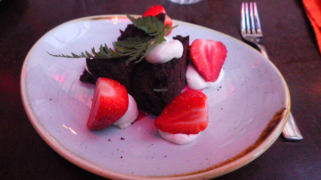 "Photo of Vaxthuset  by <a href=""/members/profile/deadpledge"">deadpledge</a> <br/>Chocolate cake, seasonal berries, Spanish chervil <br/> August 19, 2017  - <a href='/contact/abuse/image/83775/294249'>Report</a>"