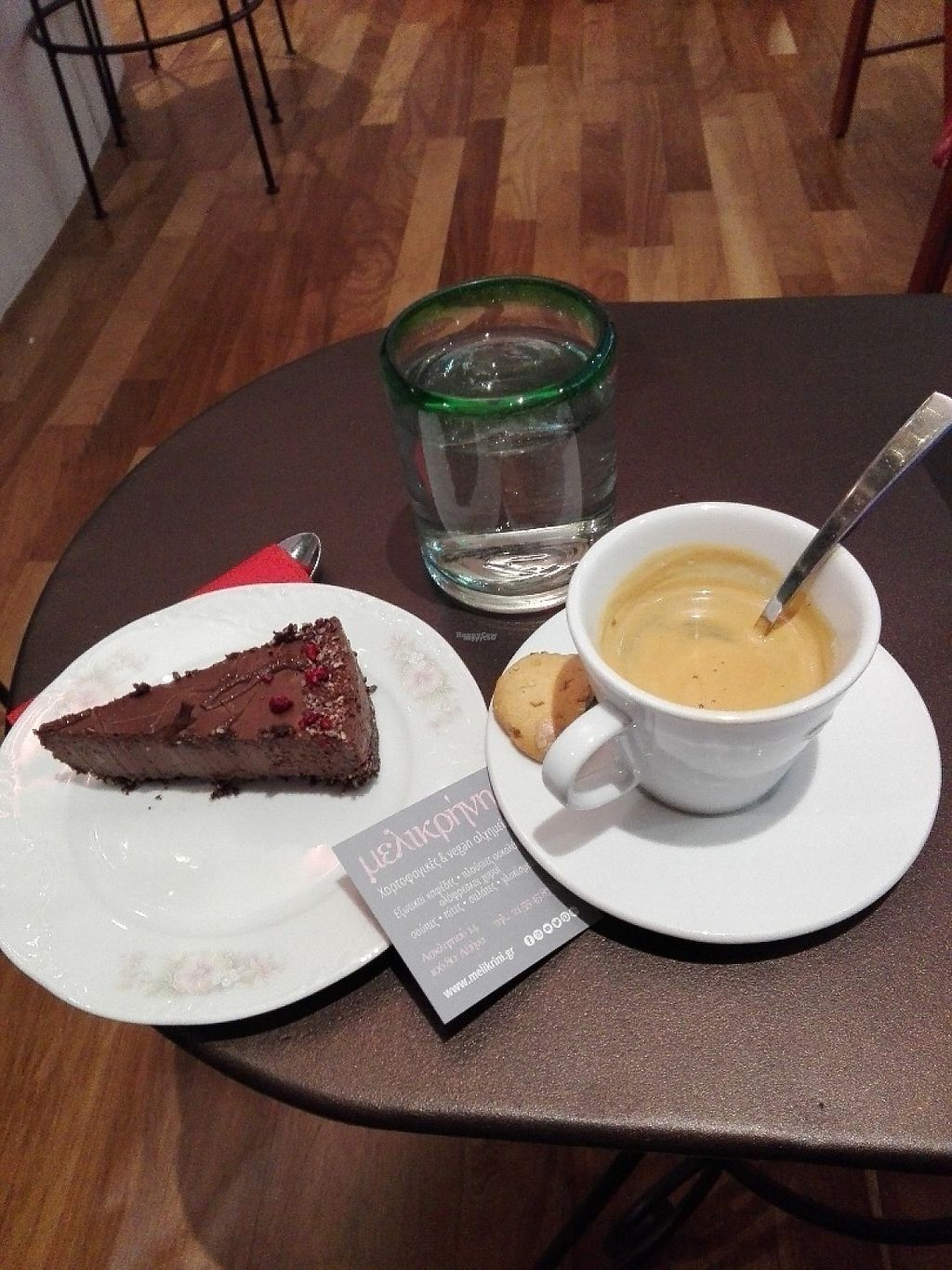 "Photo of Melikrini  by <a href=""/members/profile/ElisaGR"">ElisaGR</a> <br/>Chocamole raw chocolate vegan cake and decaf double espresso. Both of great quality! <br/> January 22, 2017  - <a href='/contact/abuse/image/83792/214550'>Report</a>"