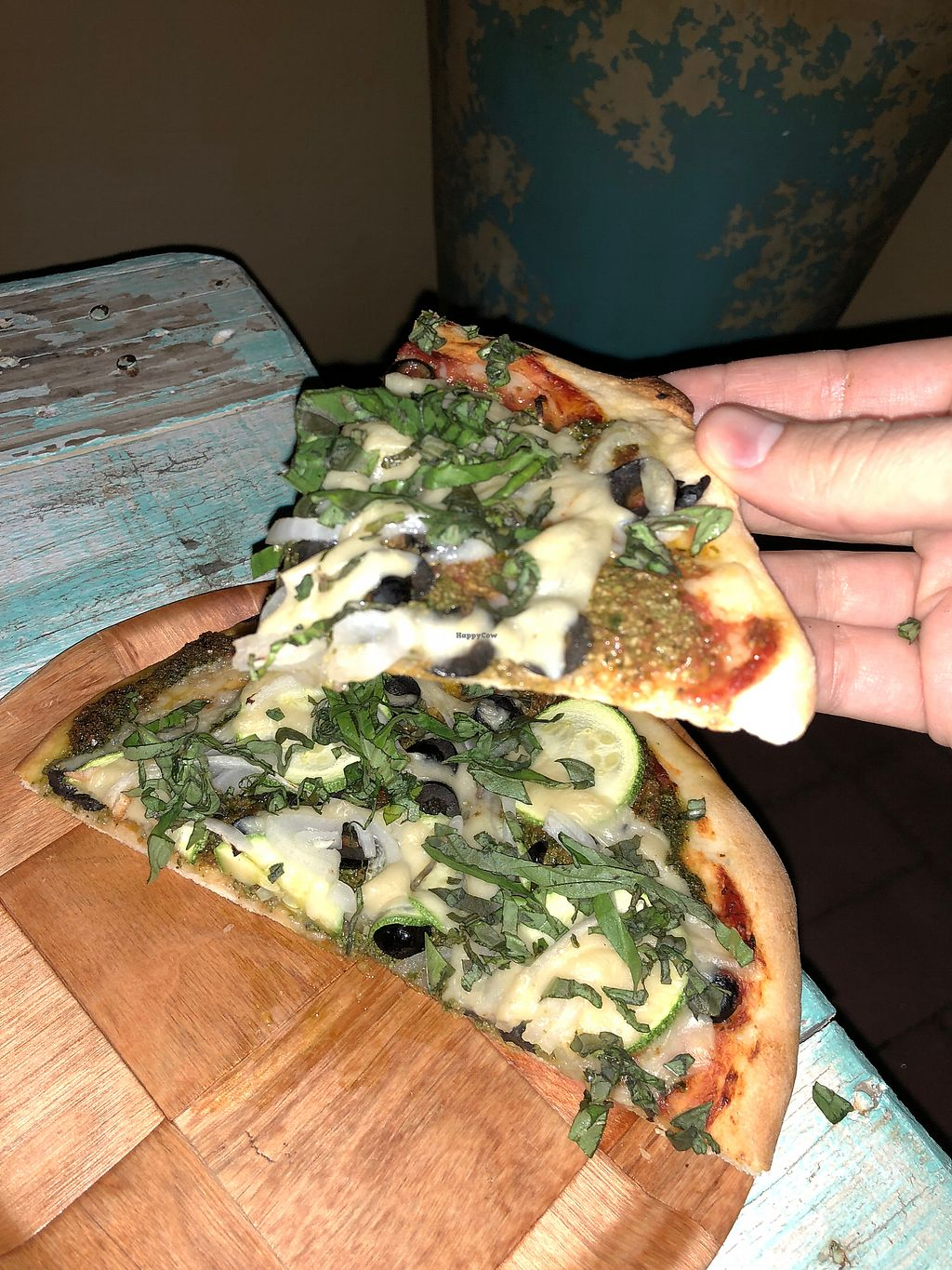 """Photo of La Rana Vegana  by <a href=""""/members/profile/RyanPamplin"""">RyanPamplin</a> <br/>Great Pesto Pizza (that cheese!!!) <br/> January 21, 2018  - <a href='/contact/abuse/image/83802/349490'>Report</a>"""